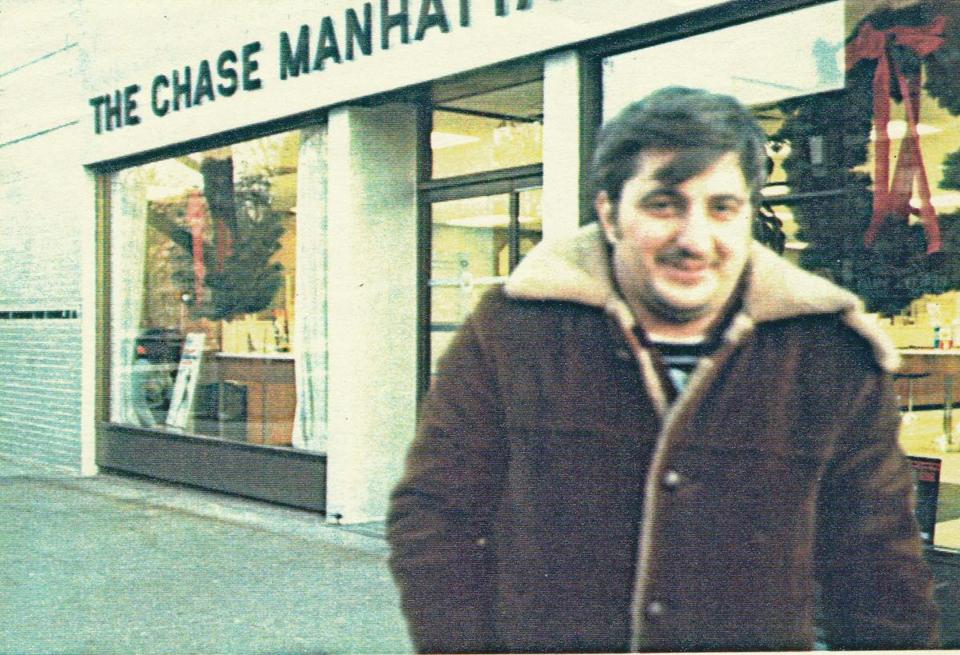 John Wojtowicz in front of the Chase Manhattan Bank.