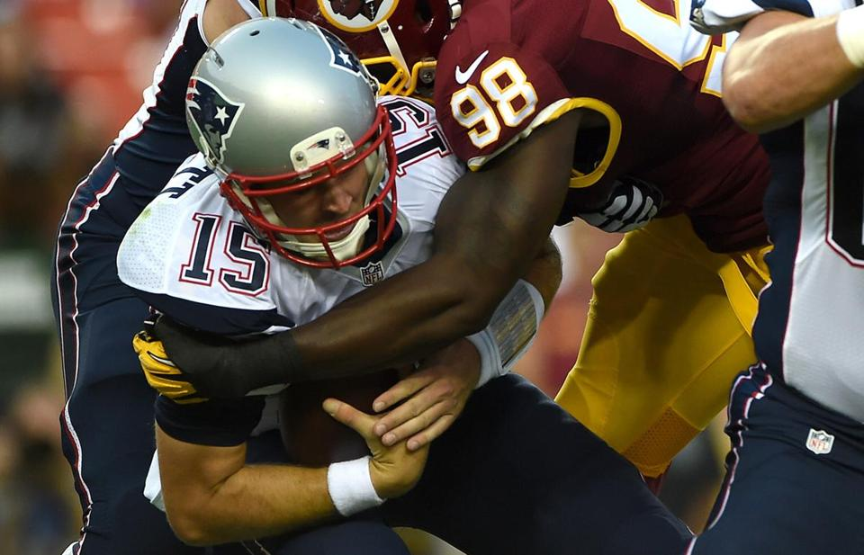 Redskins linebacker Brian Orakpo sacked Ryan Mallett in the first quarter Thursday.