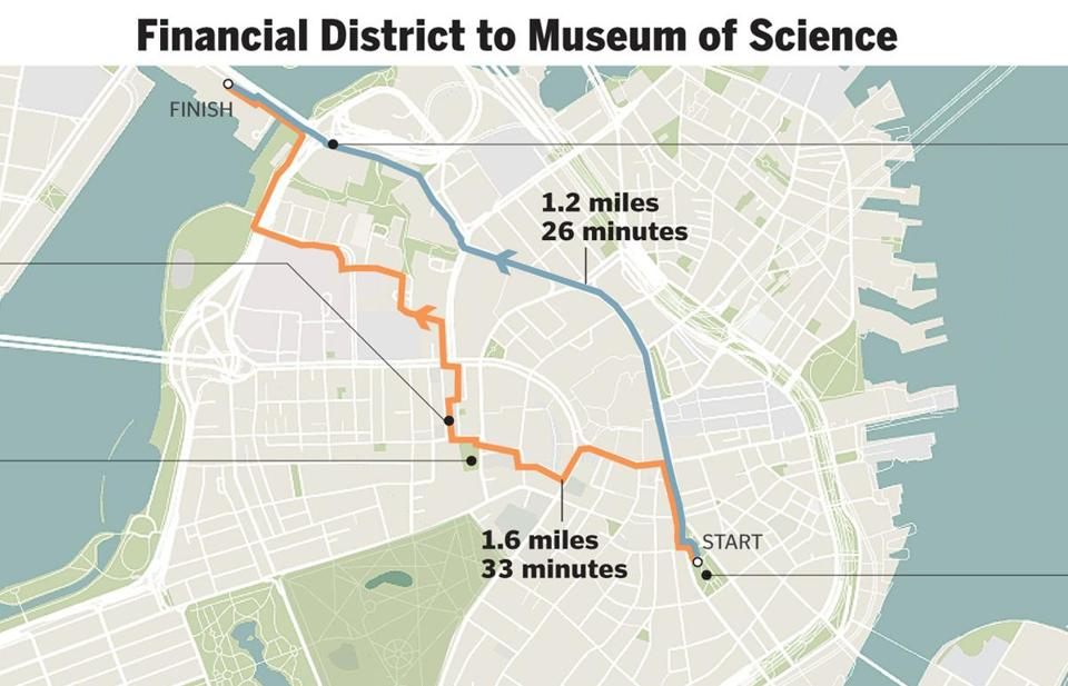 a map that finds the prettiest walking route the boston globe