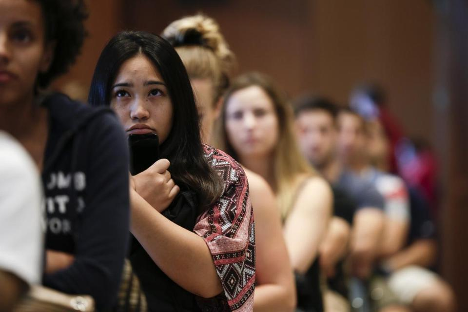 New students at San Diego State University watched a video on sexual consent during an orientation event this month.