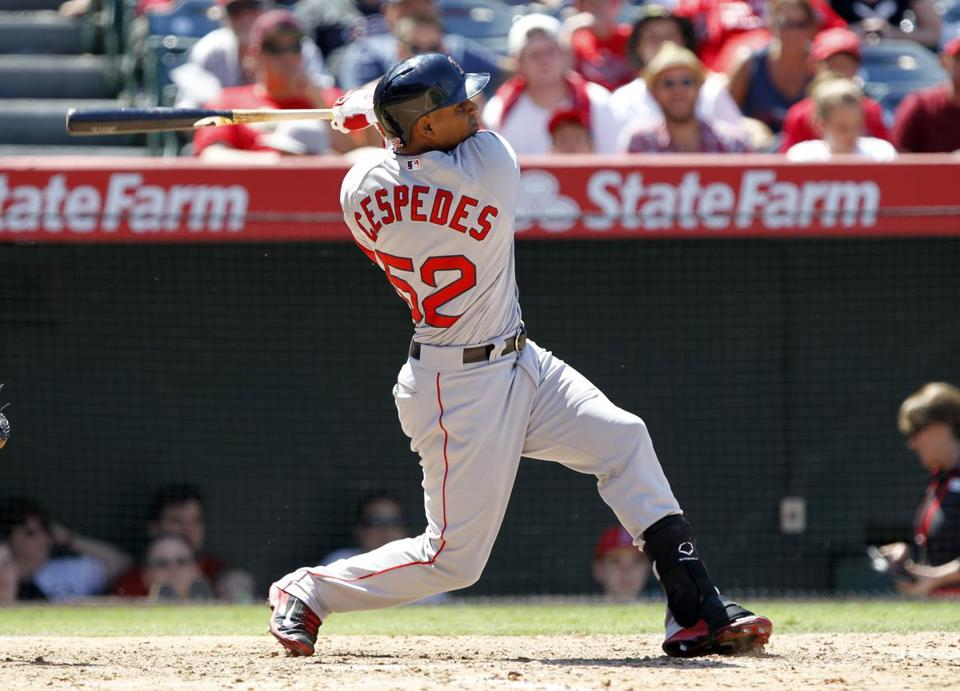 Yoenis Cespedes hit a three-run homer in the eighth, lifting the Red Sox over the Angels Sunday in Anaheim.