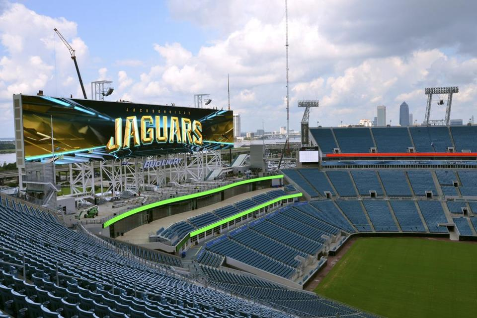 The Jaguars' EverBank Field is home to the world's largest video boards, which are at both ends of the stadium.