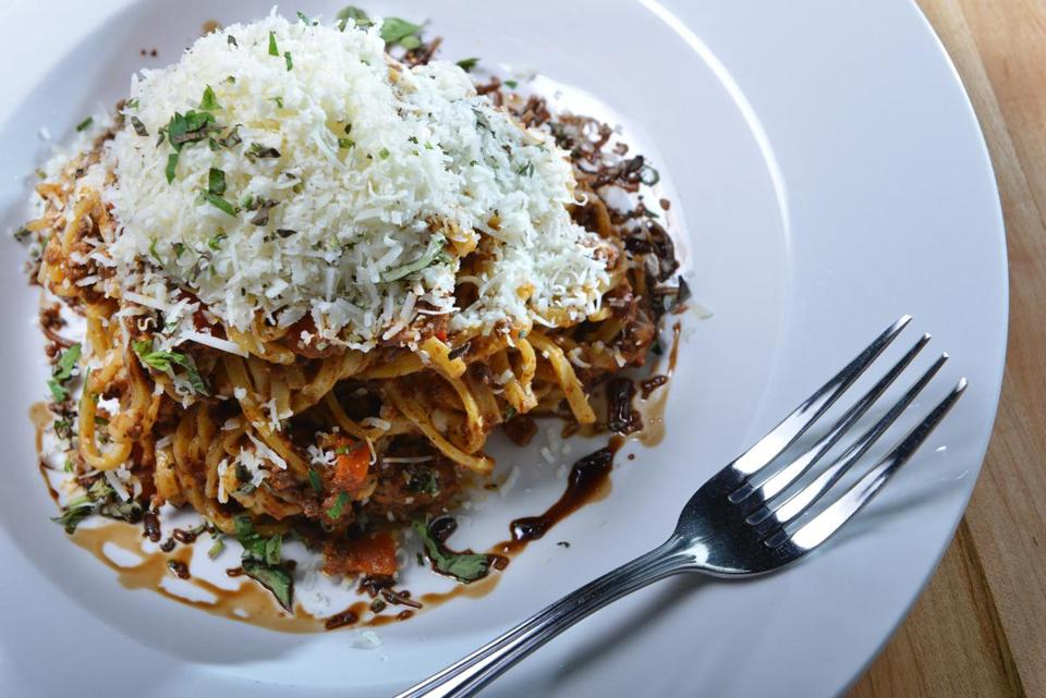 Bison Bolognese, with Romano cheese and fresh linguini at the Abbey in Cambridge. Josh Reynolds for The Boston Globe (Lifestyle, dining out, first)