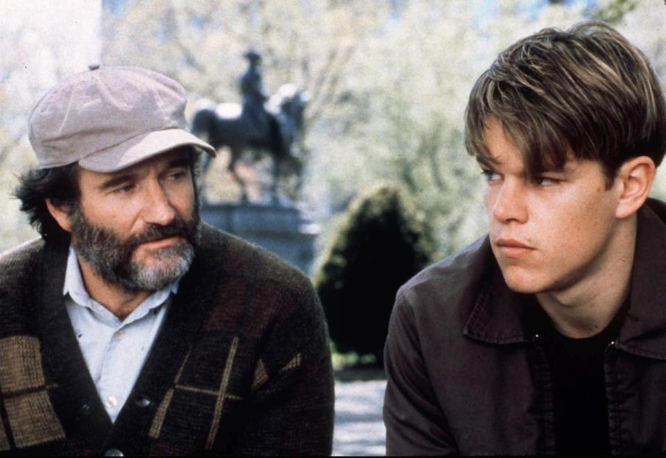 "Robin Williams and Matt Damon in a scene from the 1998 movie ""Good Will Hunting."""