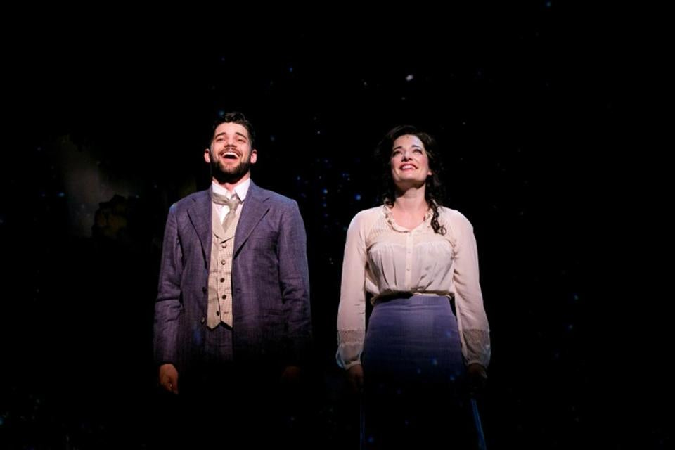 "Jeremy Jordan (left) and Laura Michelle Kelly play J.M. Barrie and Sylvia Llewelyn Davies in the musical ""Finding Neverland"" at American Repertory Theater."