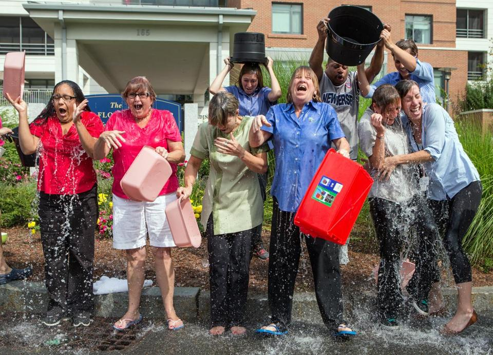Staff members at the Leonard Florence Center for Living in Chelsea took the challenge Tuesday.