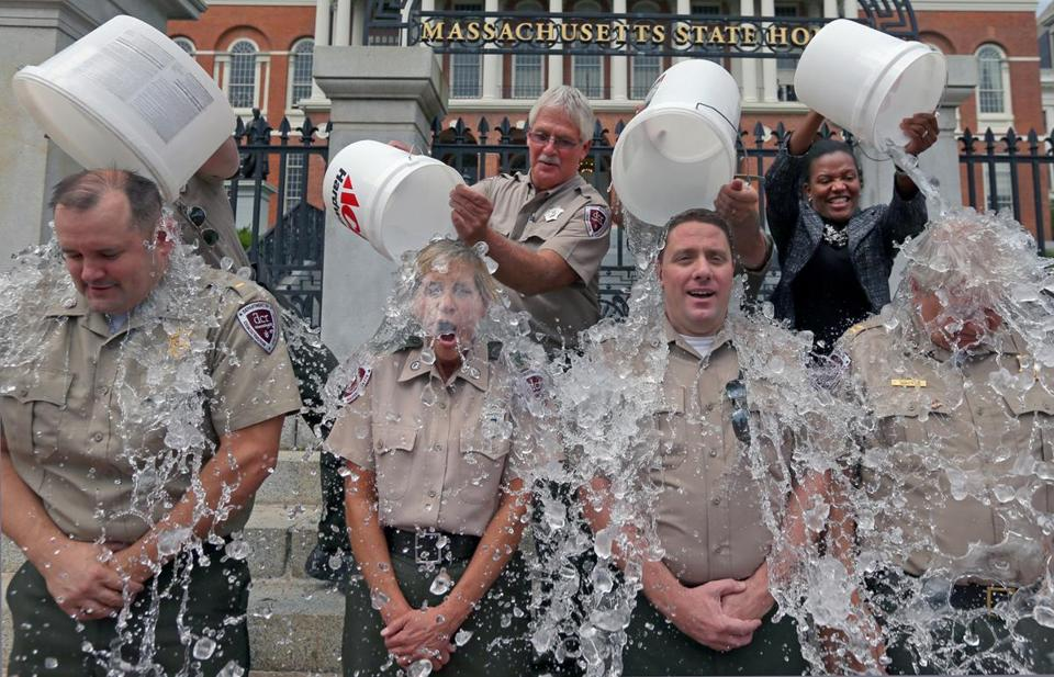 The park rangers who provide security at the Massachusetts State House participated in the ice-bucket challenge.
