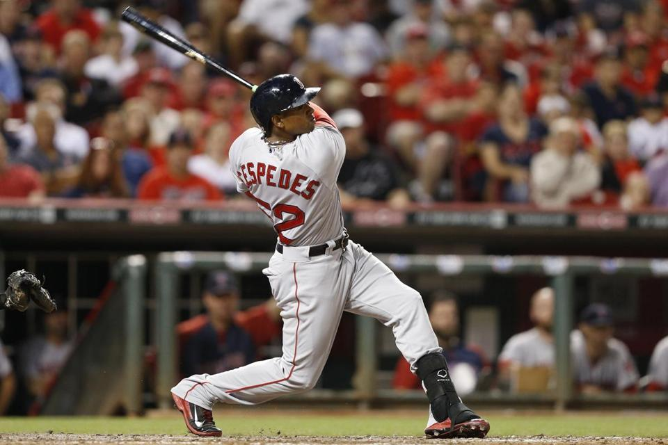 Yoenis Cespedes connected in the eighth inning on a two-run home run to put the Red Sox ahead.