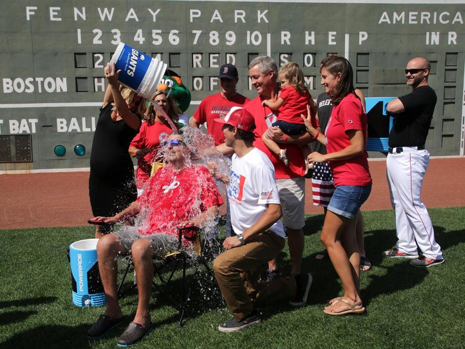 Frates was doused with a bucket of ice water at Fenway Park on Thursday.