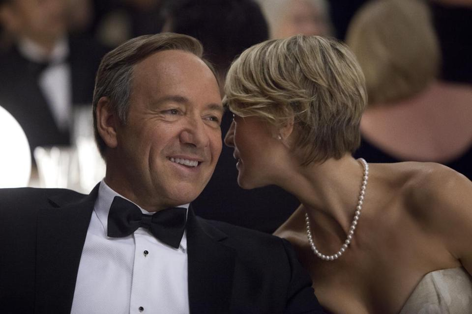 "Kevin Spacey as Frank Underwood in ""House of Cards."" Robin Wright (also pictured) plays his wife, Claire Underwood."