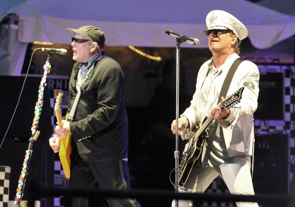 Cheap Trick's Rick Nielsen (left) and Robin Zander performing in 2014.