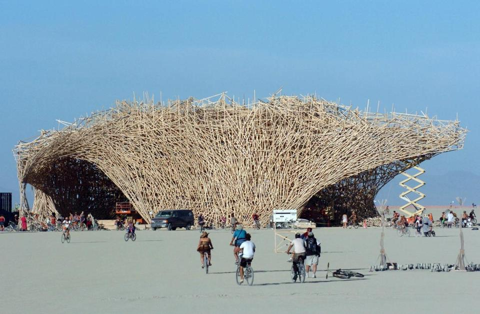 "Conceptual artist Arne Quinze designed a 15-story structure named ""Uchronia"" at the Burning Man festival in Black Rock City, Nev., in 2006. The structure, which was quickly dubbed ""The Belgian Waffle,"" was burned during the closing hours of the annual event."