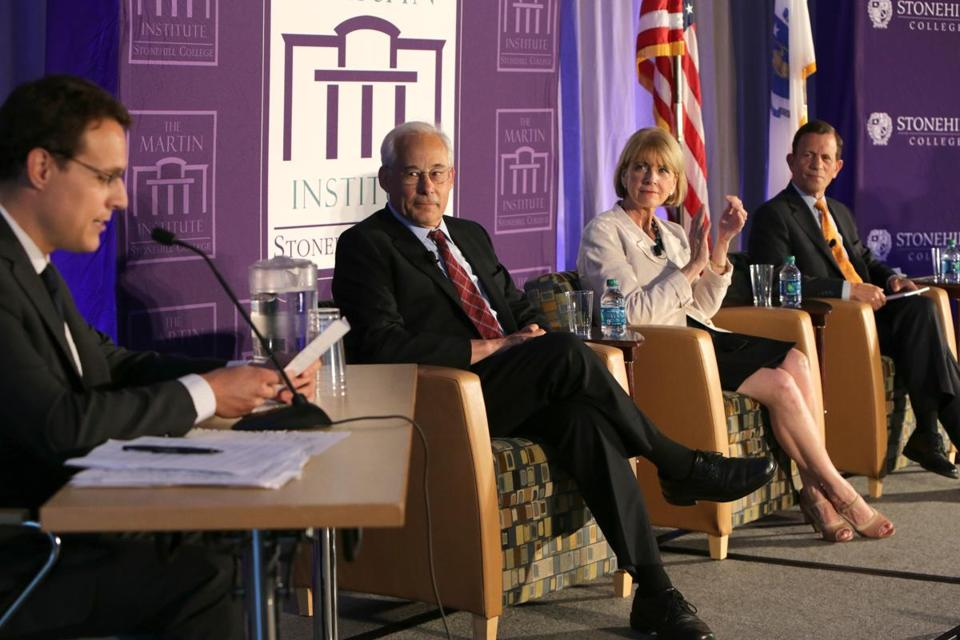 Democratic gubernatorial candidates faced off in a debate at Stonehill College.