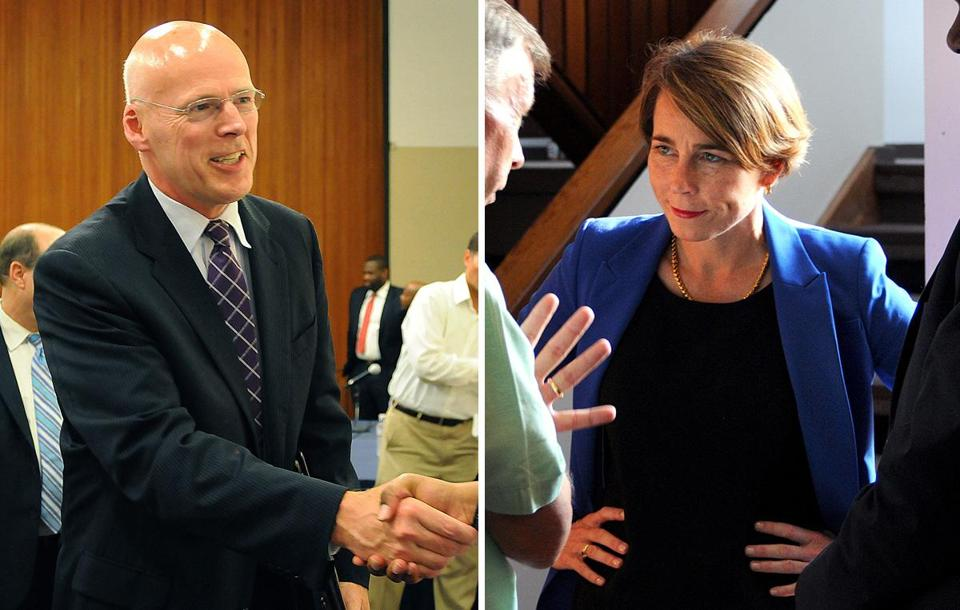 Warren Tolman (left) and Maura Healey are running for attorney general.