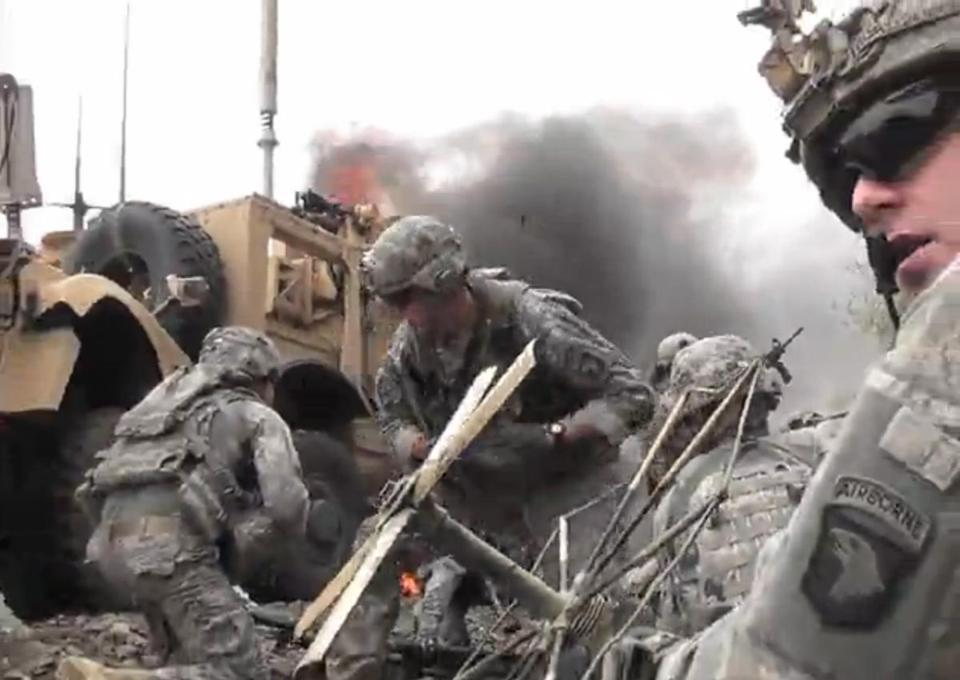 In 2010, James Foley was in a convoy with the US Infantry in the Kunar Province of Afghanistan when they were ambushed. This screen grab, taken from Foley's video, shows soldiers desperately trying to save the lives of those injured.