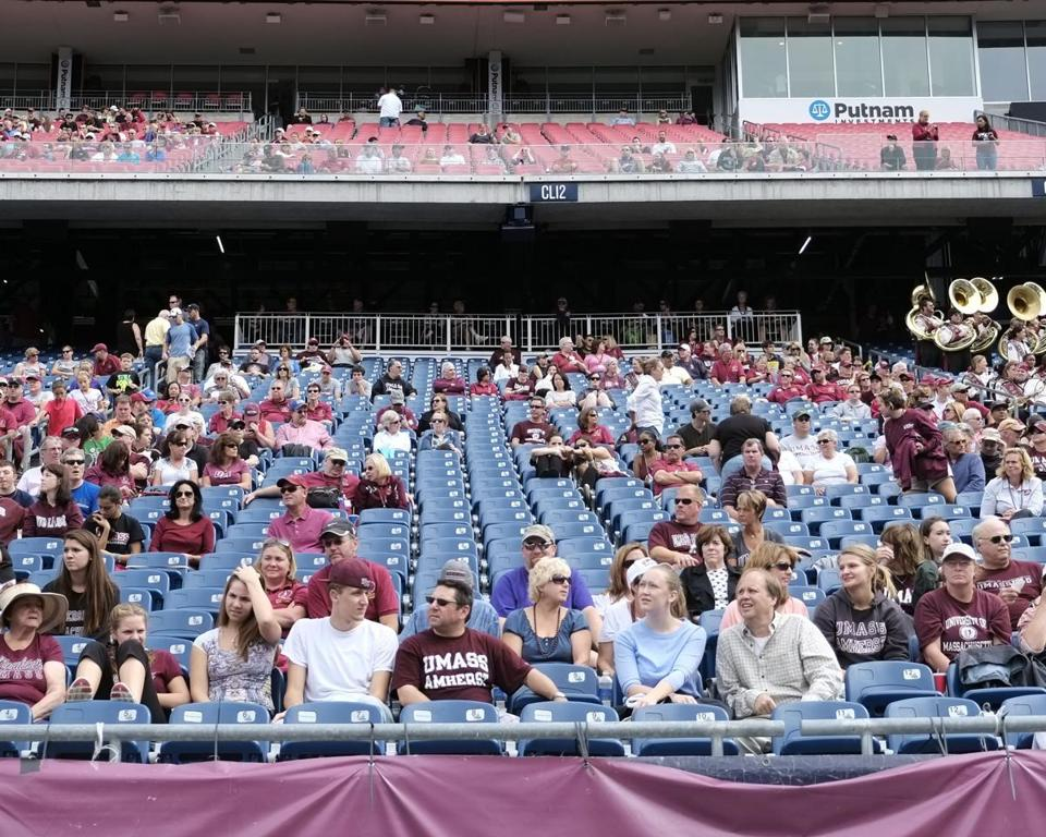 Empty seats at a UMass football game against Vanderbilt last year.
