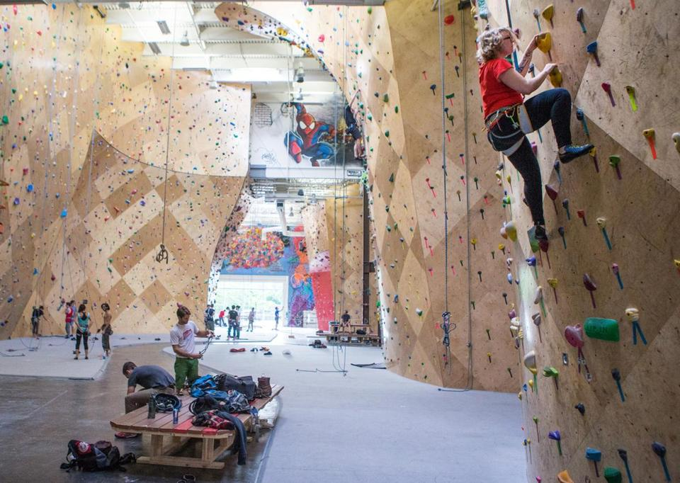 Climbers scaled the walls at Brooklyn Boulders  in Somerville.
