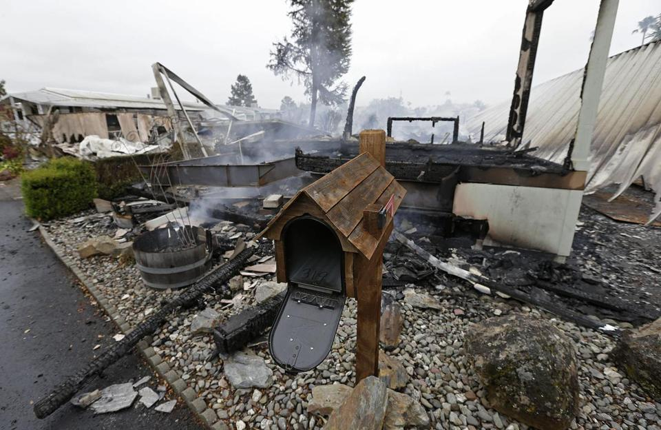 A mailbox was all that remained of a mobile home that was destroyed in a fire at the Napa Valley Mobile Home Park.