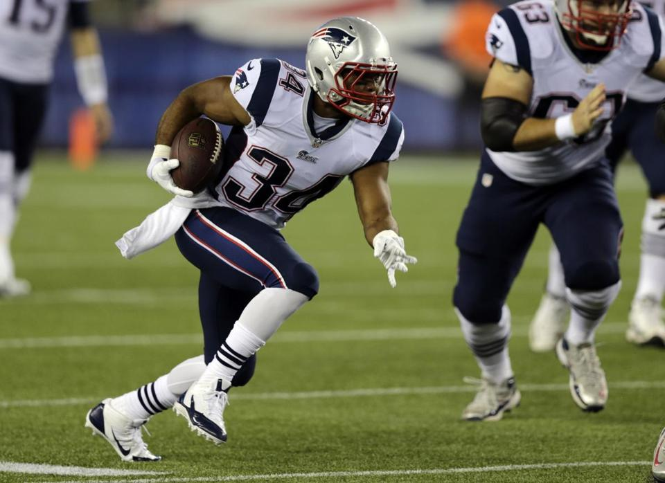 Running back Shane Vereen has carried the ball seven times for 25 yards this preseason.