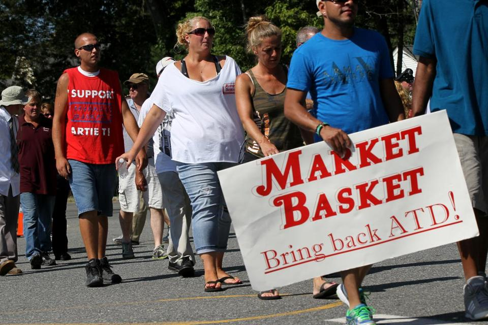 Protesters were outside Market Basket headquarters in Tewksbury on Tuesday.