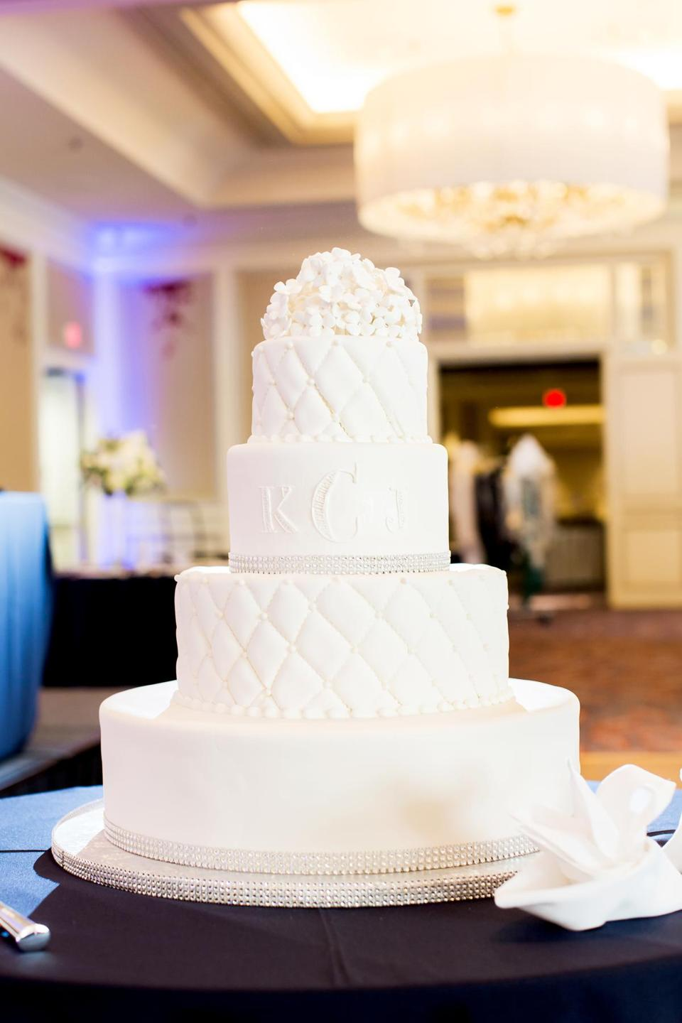 The couple's wedding cake, courtesy of Montilio's Baking Company of Boston.