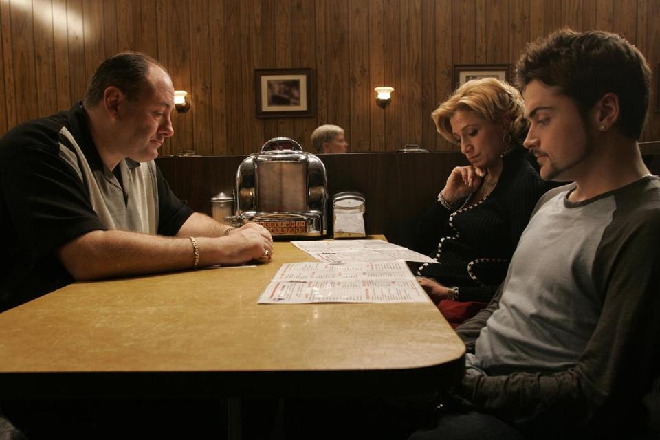 "The final scene of ""The Sopranos"" (starring, from left, James Gandolfini, Edie Falco, and Robert Iler) is still a topic of debate years after it aired in 2007."