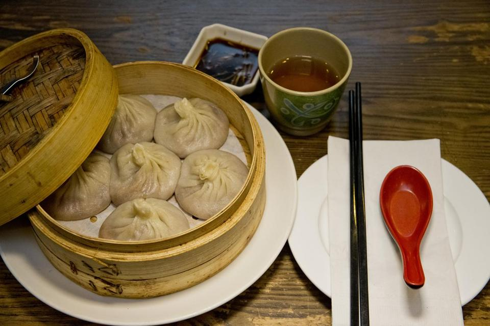 the xiao long bao shanghai soup dumplings served at dumpling cafe in chinatown