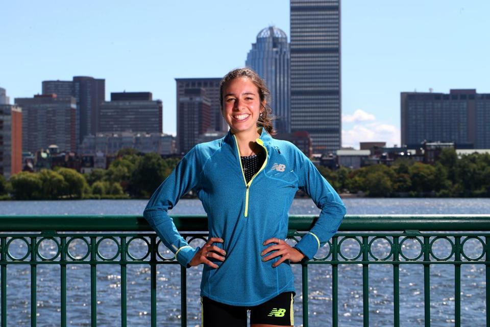 Abbey D'Agostino, a seven-time NCAA champion, recently signed with New Balance and moved to Newton.