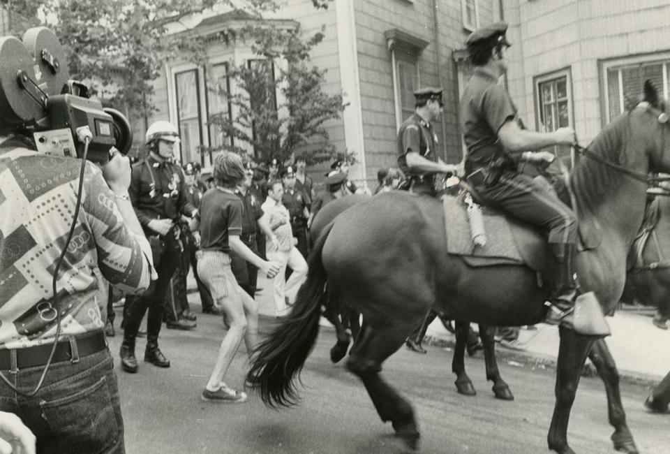 Mounted officers were part of the police response.