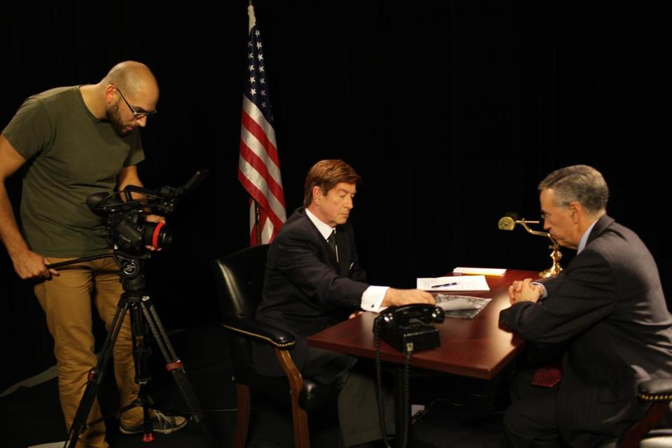 """The Folklorist"" coproducer Andrew Eldridge taping Mike Lowe (center) and Herbert Fuchs in a scene on the Cuban Missile Crisis."