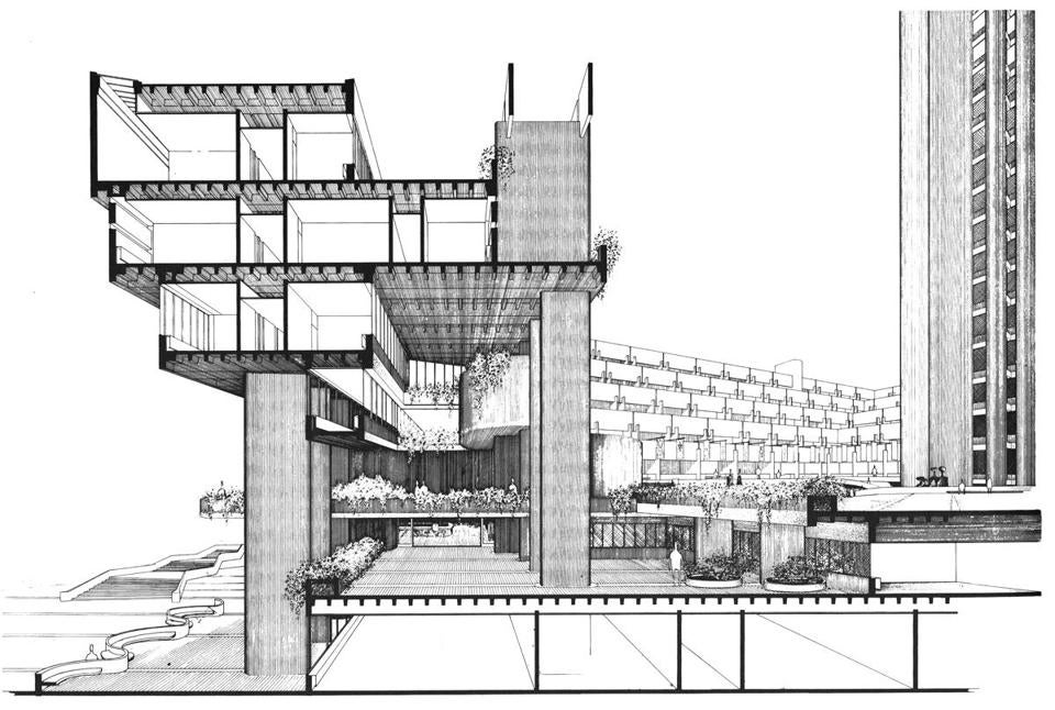 a cross section drawing of the mental health building the tower at right was