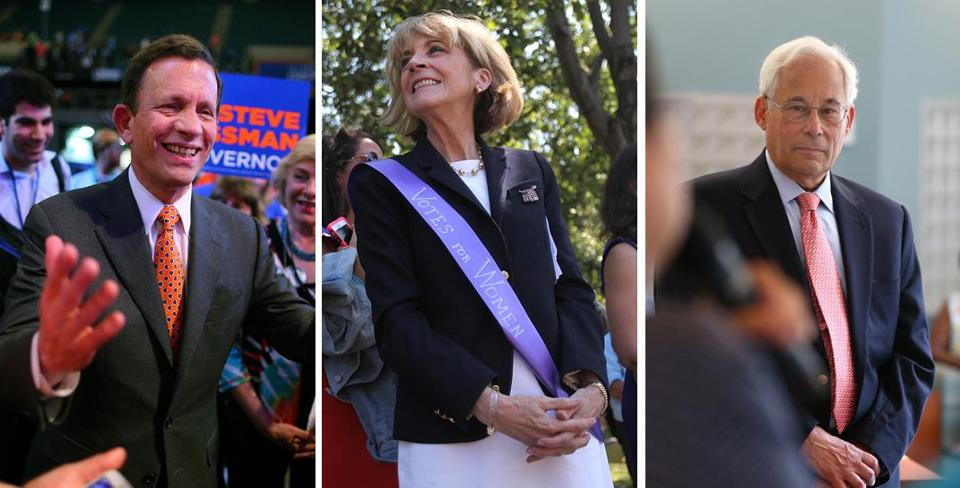 Martha Coakley maintains her lead against rivals Steve Grossman (left) and Don Berwick (right).