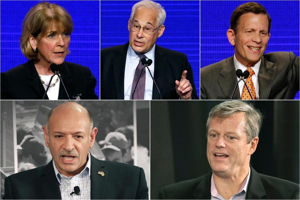 (Top, from left) Democrats Martha Coakley, Don Berwick, and Steve Grossman. (Bottom) Republicans Mark Fisher and Charlie Baker.