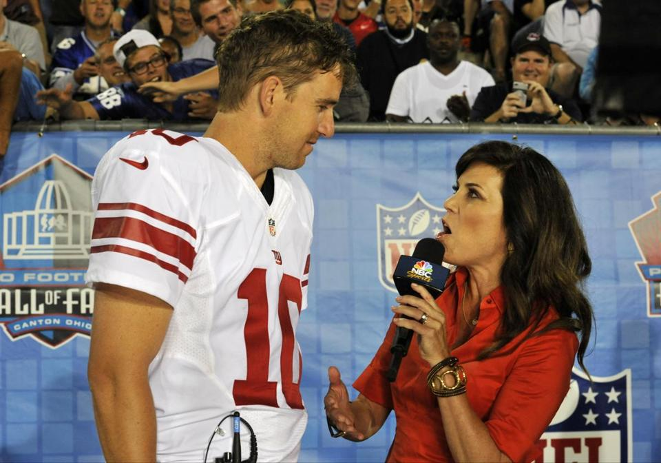 Michele Tafoya  is one of the most prominent sideline reporters on TV on NBC's Sunday Night Football.
