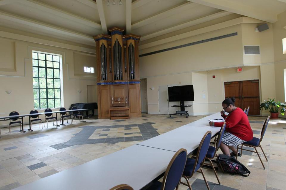 Akyanna Smith found a place to study on Emmanuel College's new Notre Dame campus. The Roxbury site was once a convent.