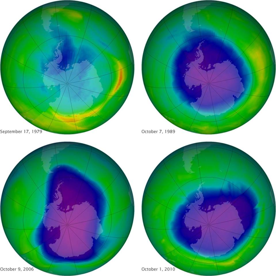 A NASA image of the ozone layer over the past 35 years. From 2000 to 2013, ozone levels climbed 4 percent in the key mid-northern latitudes at about 30 miles up.