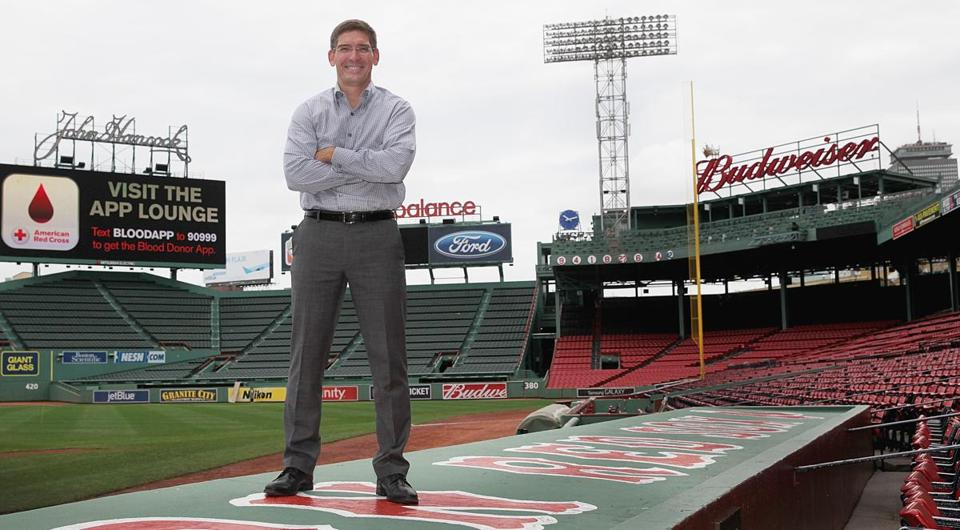 Steven Maler of Commonwealth Shakespeare Company stands where a stage will be built above the Red Sox dugout.
