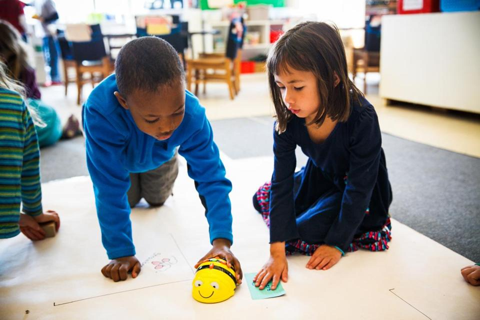 First-graders at private Shady Hill School in Cambridge learn basic algorithmic thinking and teamwork as they figure out how to make programmable robotic toys move.