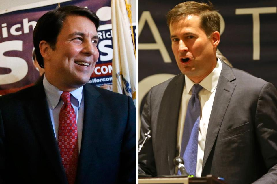 Republican Richard Tisei (left) is facing Democrat Seth Moulton in the Sixth Congressional District race.