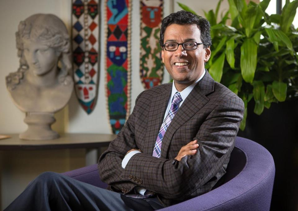 Atul Gawande in his office at the Harvard School of Public Health.