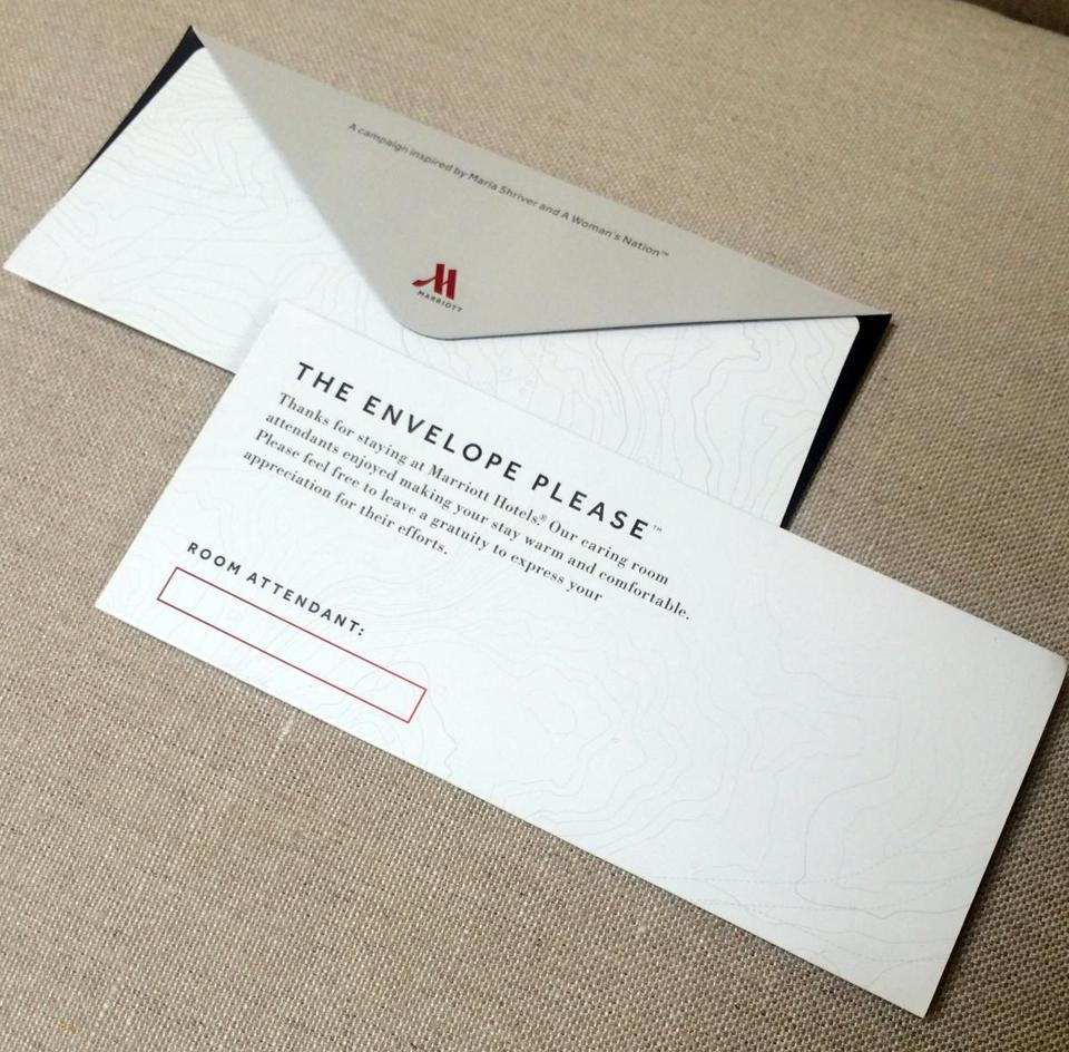 Marriott Will Be Placing Envelopes Like This In 160 000 Hotel Rooms The Us And Canada