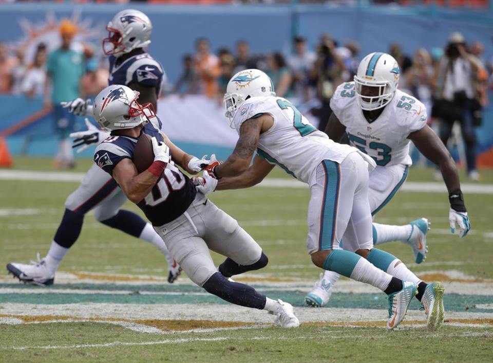 Patriots receiver Danny Amendola has just three catches through two games, all in the opener against Miami.