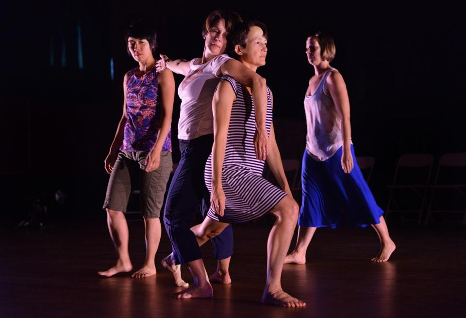 "From left: Crissy Liu, Wanda Strukus, Alison Ball, and Leah Bergmann rehearse Daniel McCusker's ""Hey!"" at the Center for Arts at the Armory in Somerville."