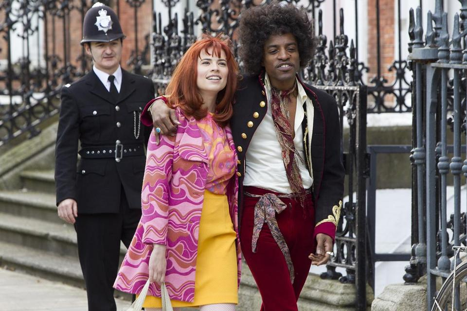 Above: Hayley Atwell as Kathy Etchingham  and André Benjamin as Jimi Hendrix. Left: Imogen Poots as Linda Keith.