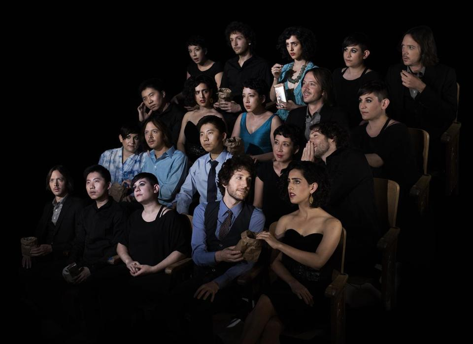 The ensemble yMusic (front row, from left) C.J. Camerieri, Hideaki Aomori, Nadia Sirota, Rob Moose, Alex Sopp, and (second row, second from right) Clarice Jensen.