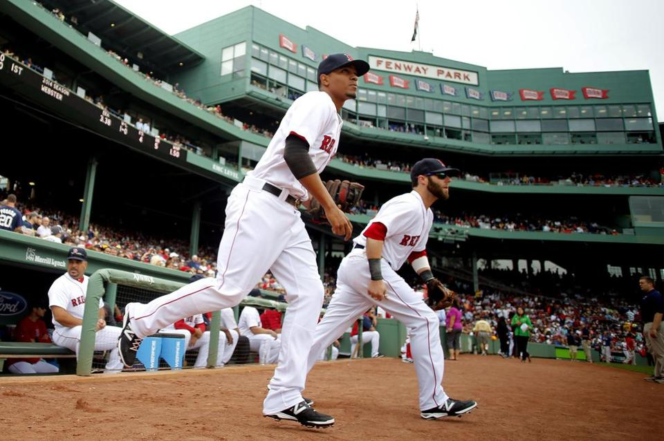 Xander Bogaerts and Dustin Pedroia take the field.