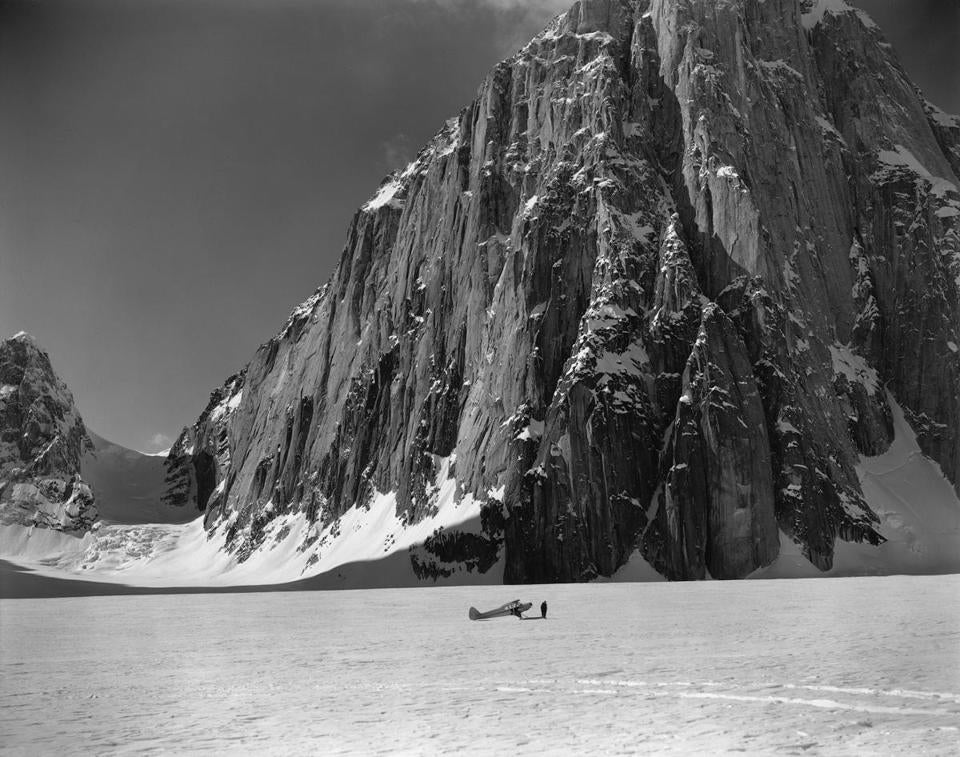 """Don Sheldon's Super Cub Airplane at the Great Gorge of the Ruth Glacier at the Foot of the East Face of Mt. Dickey, Alaska"" (1955)."