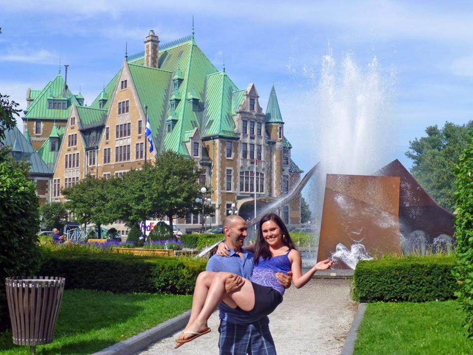 DeMarco and Levis on their honeymoon in Quebec City.