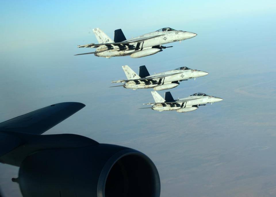 A formation of US fighter aircraft flies over northern Iraq in September as part of coalition airstrikes on the Islamic State group and other targets in Syria.
