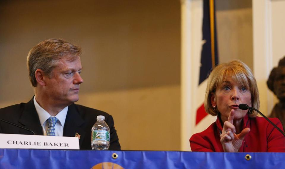 Republican Charlie Baker (left) holds a slender lead of 2 percentage points over Coakley, 40 percent to 38 percent, in a new Globe poll.